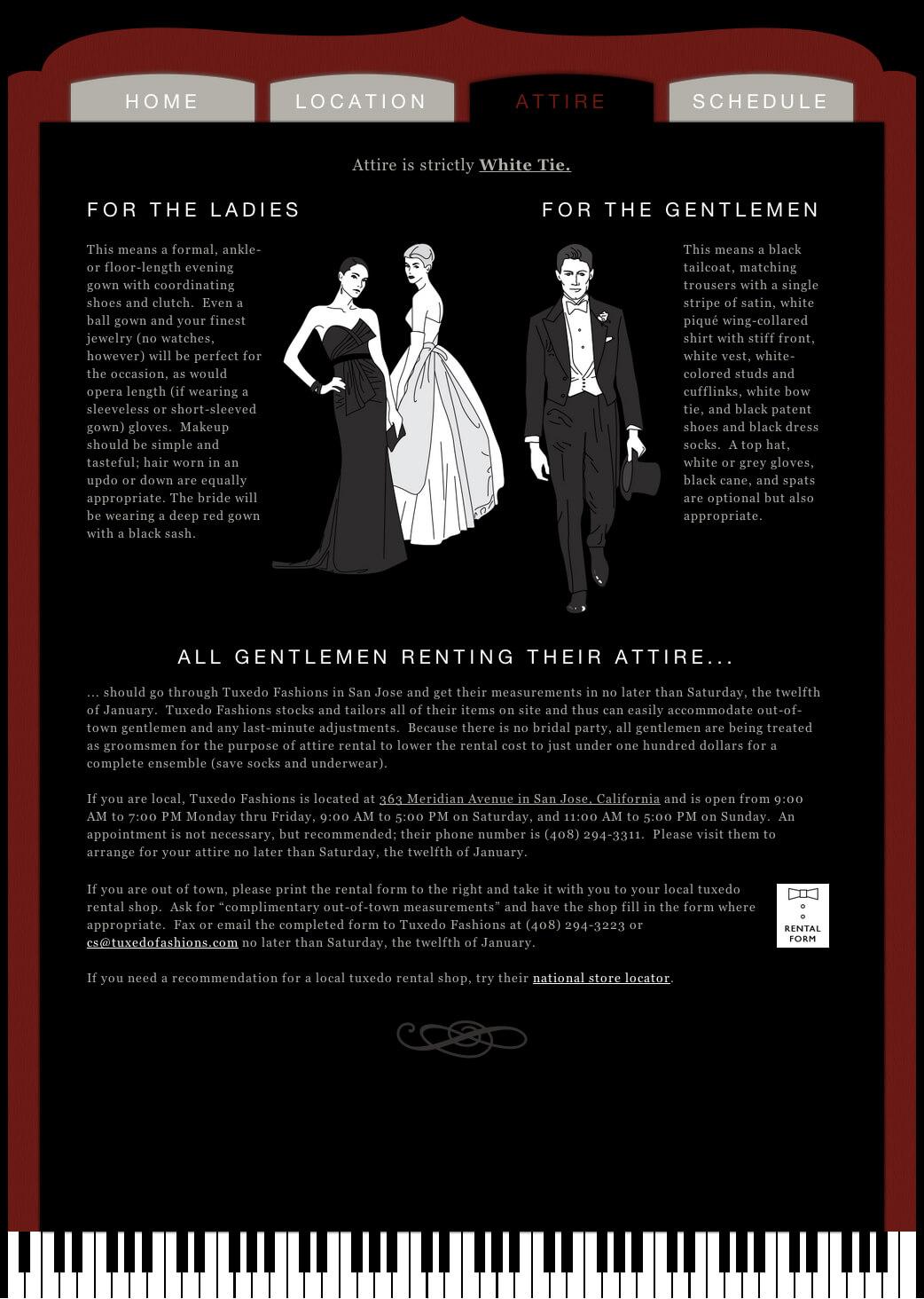 Wedding Recital Website - Attire