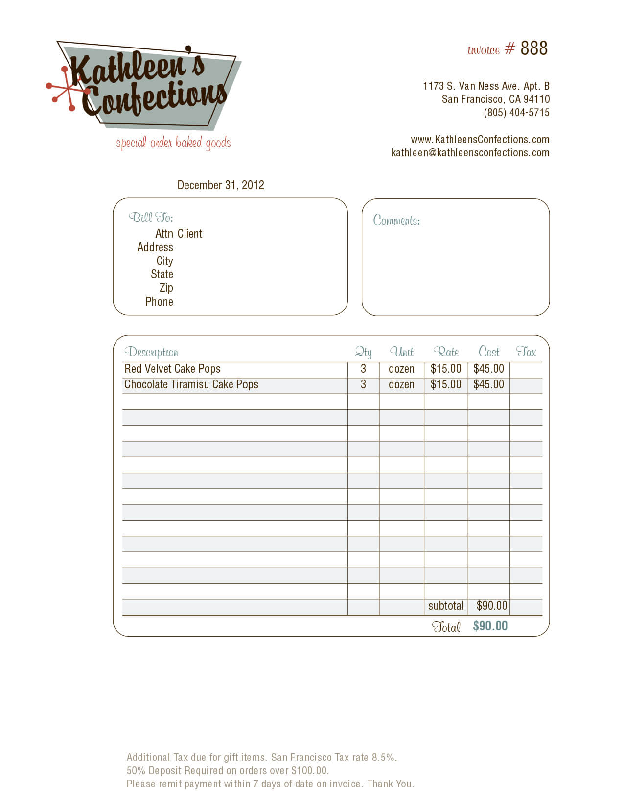 Kathleen's Confections Sample Invoice