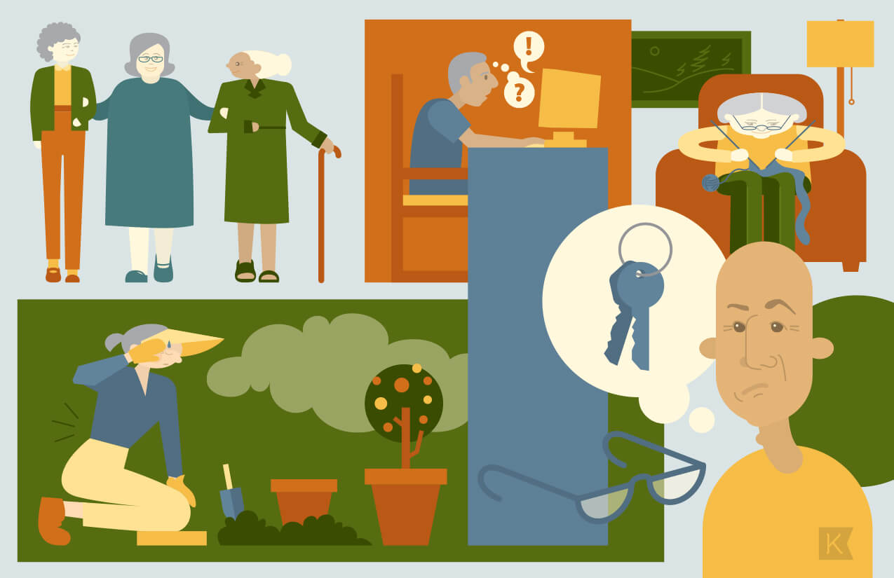 Illustration for articles about adults with aging parents