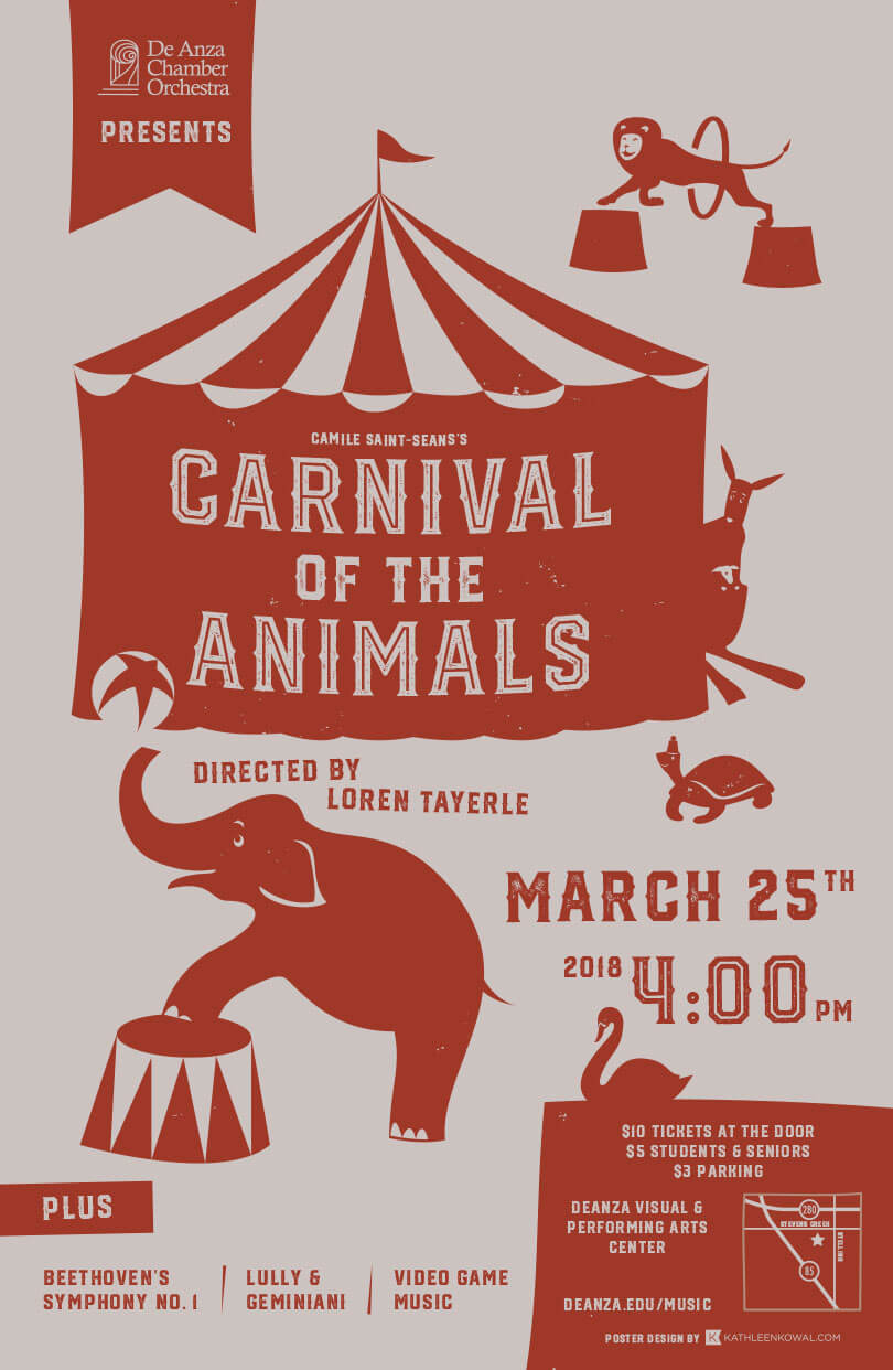 De Anza College Concert Poster - Carnival of the Animals